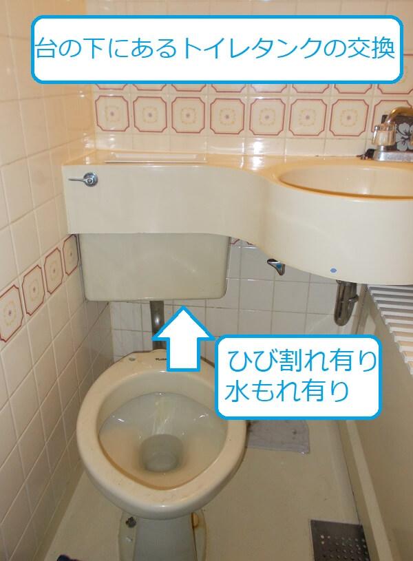 洗面台下のトイレタンク
