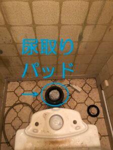トイレの配管内に尿取りパッドがつまっている